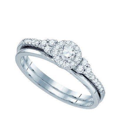 10K White Gold 0.30ctw Elegant Pave Diamond Round Fashion Bridal Set Ring