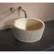Vasque à poser marbre Diam.42 cm beige / naturel Cedrus ...