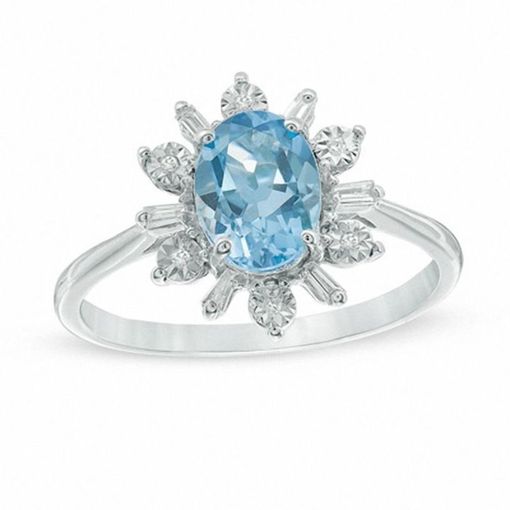 Zales Oval Blue Topaz and 1/10 CT. T.w. Diamond Flower Ring in Sterling Silver and 10K Gold gwMl2lfjJb