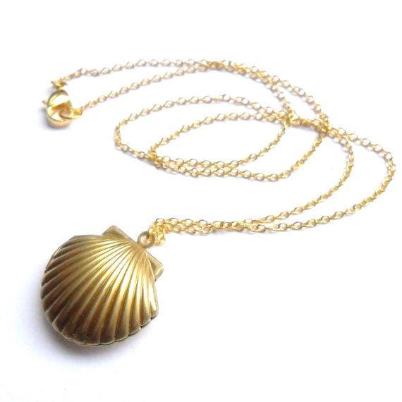 Sea Shell Locket Mermaid Necklace Beach Locket Gold Tone Brass