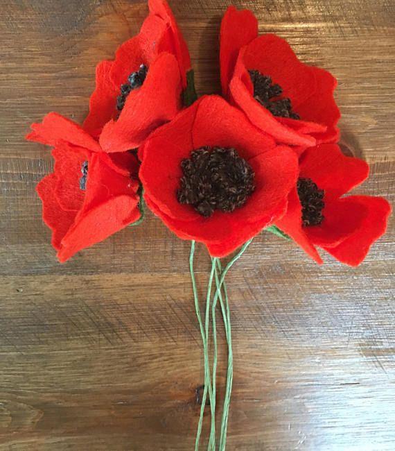 Wool felt poppies, felt flowers, felt flower bouquet, poppy bouquet ...