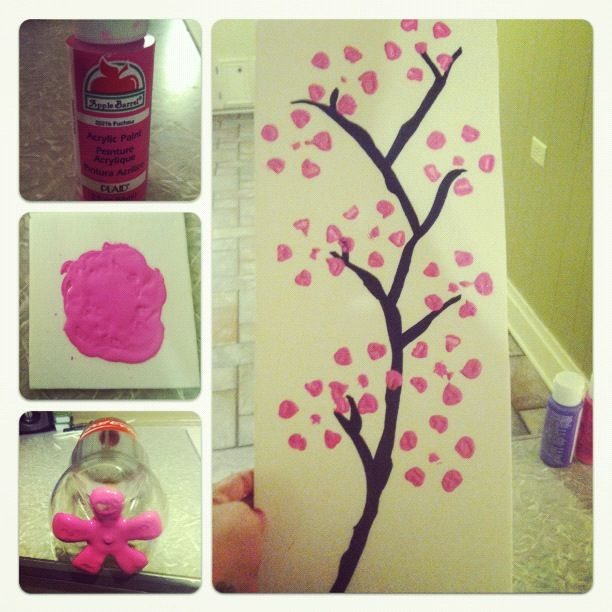 Easy To Do Cherry Blossom Painting All You Need Is A Plastic Coke Bottle Paint And A Piece Of Poster Board I Used A Sha Creative Crafts Crafty Craft Crafts