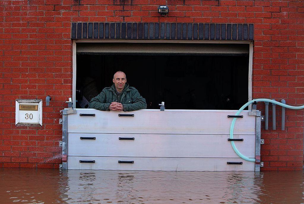 Removable Flood Barrier At Work During Flooding Flood