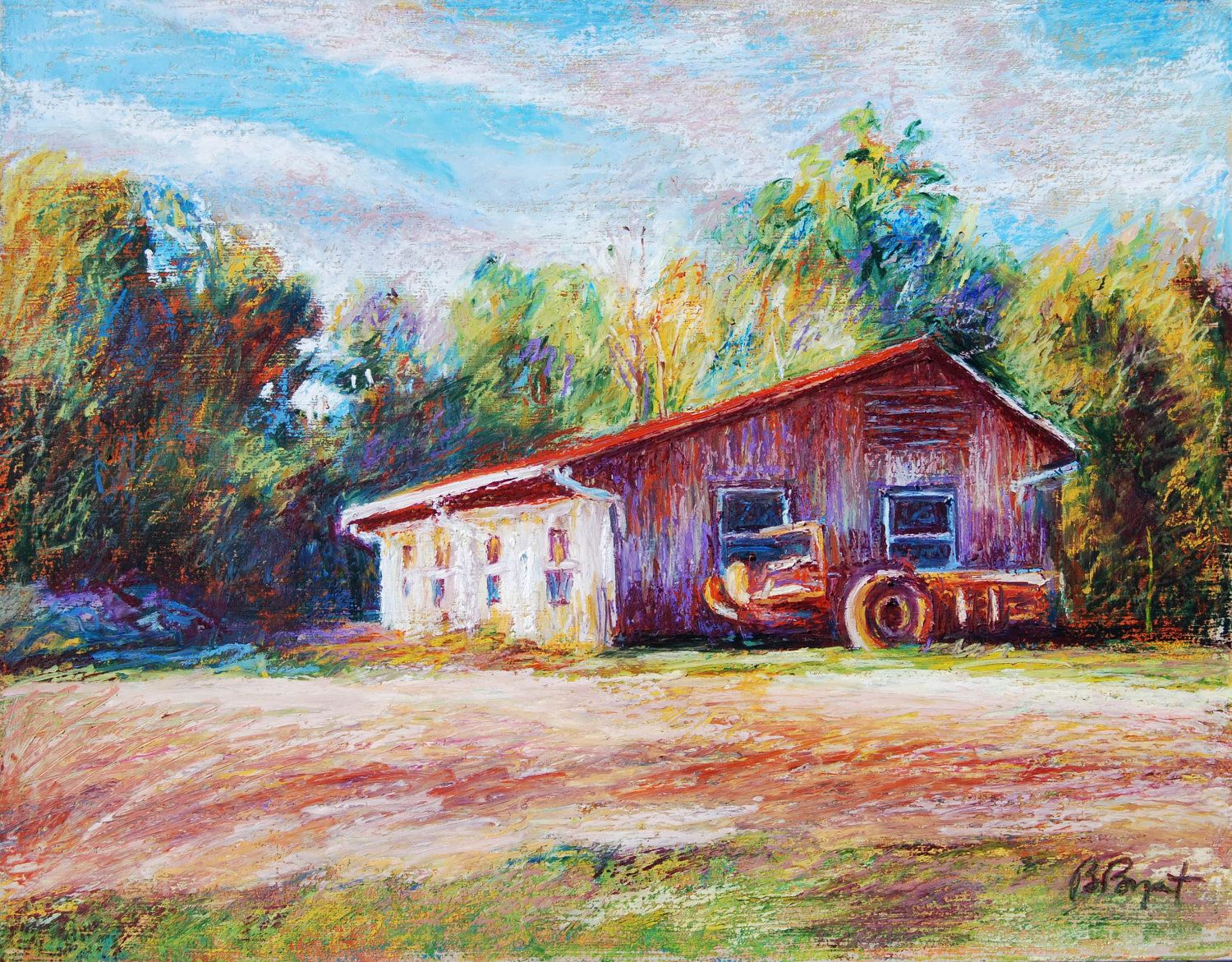 Oil Pastel Paintings Barn Landscape Painting 11 X 14 Original Oil Pastel Painting Chapel Oil Pastel Paintings Oil Pastel Landscape Paintings