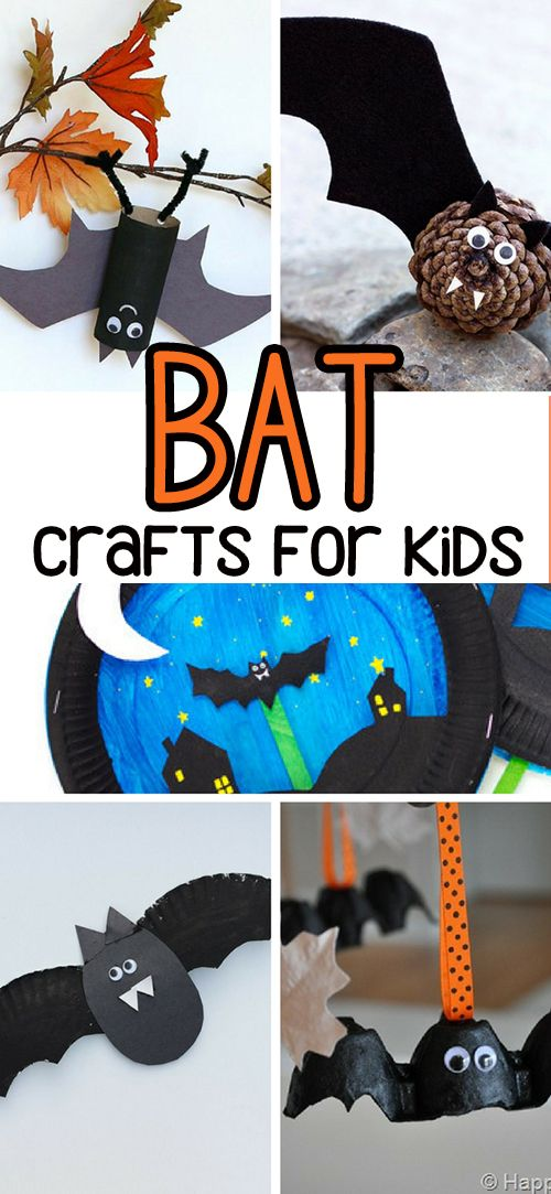 50+ Halloween Crafts for Kids Bats, Craft and Halloween diy - easy homemade halloween decorations for kids