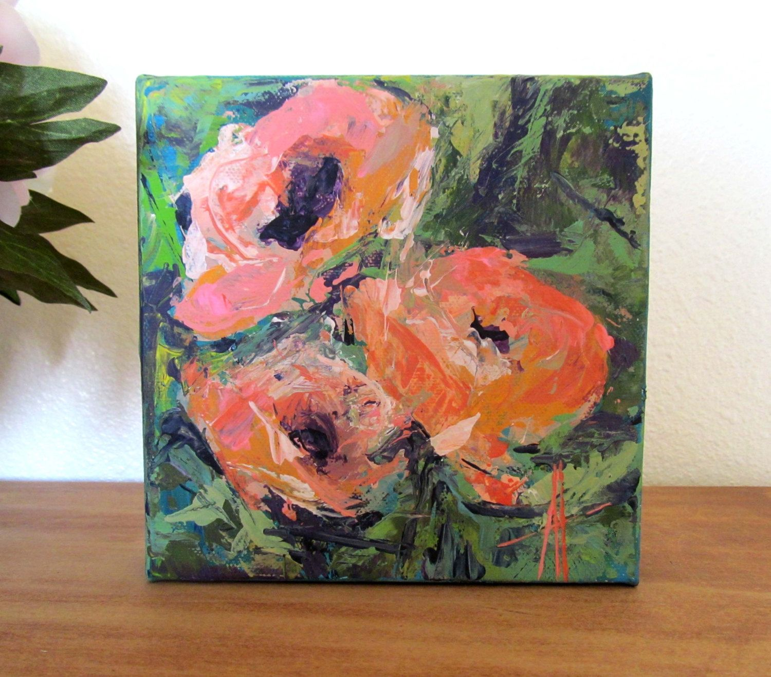 Poppies Original Contemporary Palette Knife Acrylic Painting 6x6