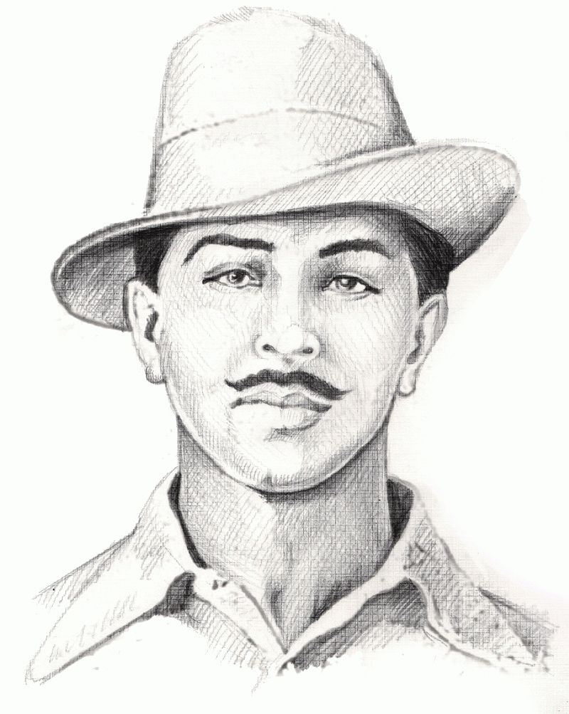 Bulls Clipart Bhagat Singh 25 800 X 1003 Bhagat Singh Indian Art Paintings Hand Art Drawing