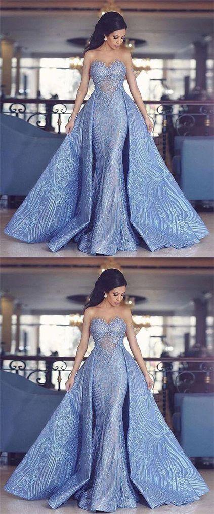 Elegant Sweetheart Mermaid Prom Dress With Detachable Train,Fashion ...