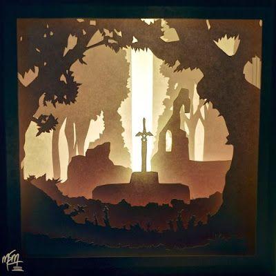 Papercraft Zelda Lightbox Diorama Shadow Box Art 3d Paper Art Paper Crafts