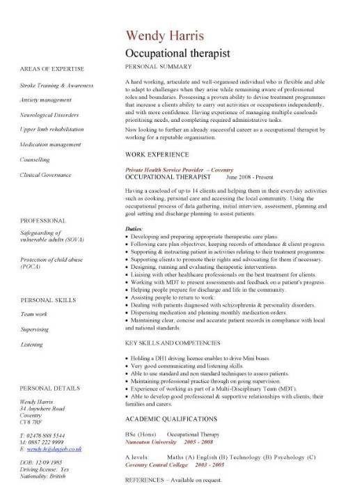 Cv Template Therapist Cvtemplate Template Therapist Cv Resume Sample Functional Resume Cv Template