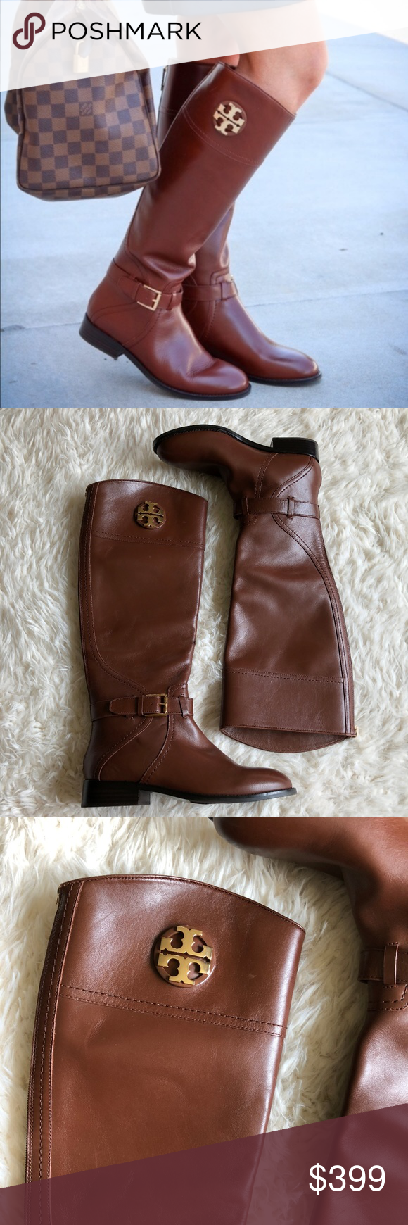 b7488dd4ed5c Tory Burch Adeline Almond Riding Tall Boot New without box Details A  gleaming logo medallion adds