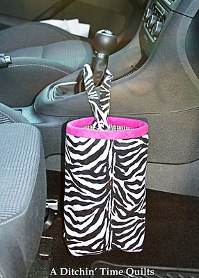 Car Trash Bag... I have already made 4 of these for my family, I love this pattern it is so easy! The only change I made was Velcro closer on one side of the strap and I put mine on the car headrest.