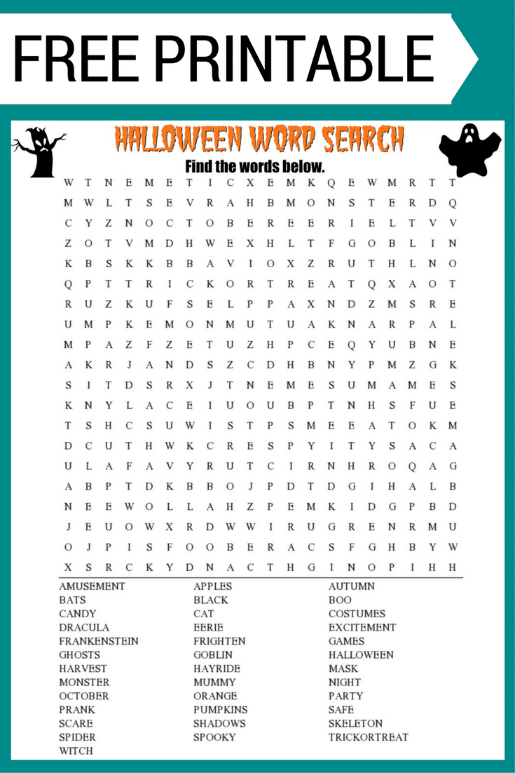 Halloween Word Search free printable worksheet with 30+ Halloween themed vocabulary words. Perfect for the classroom or as a fun holiday activity at home.