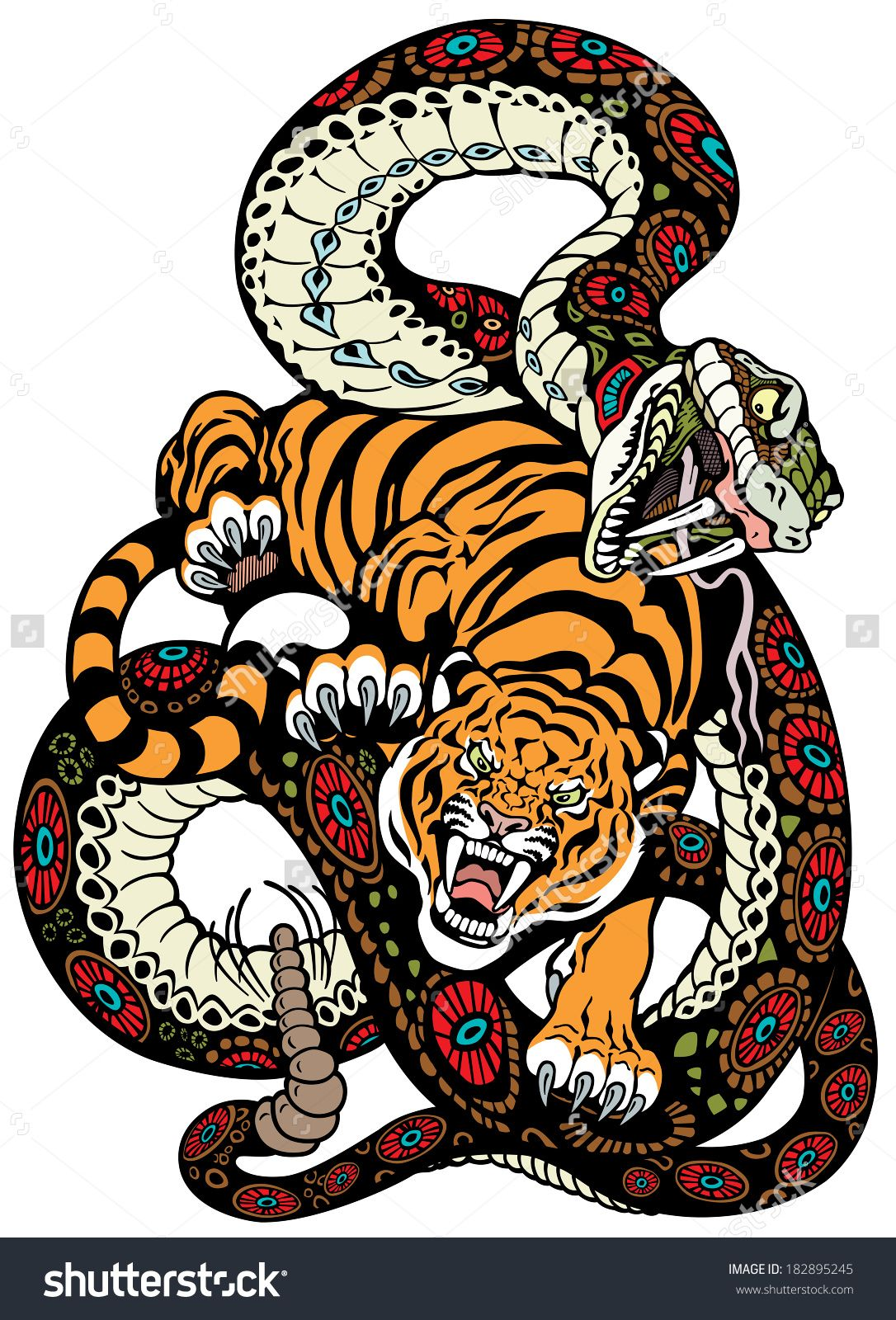 Snake And Tiger Fighting, Tattoo Illustration 182895245