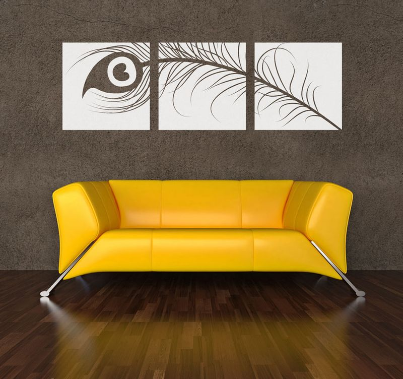 Peacock Feather Triptych Wall Decal Paintings