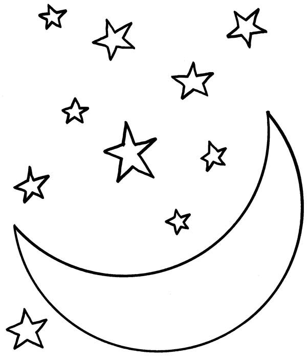 Moon At Starry Night Coloring Page Coloring Sky Moon Coloring Pages Star Coloring Pages Coloring Pages