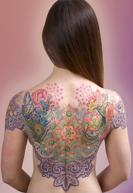 Colorful Tattoo Back Tattoo Women Back Tattoo Girl Tattoos