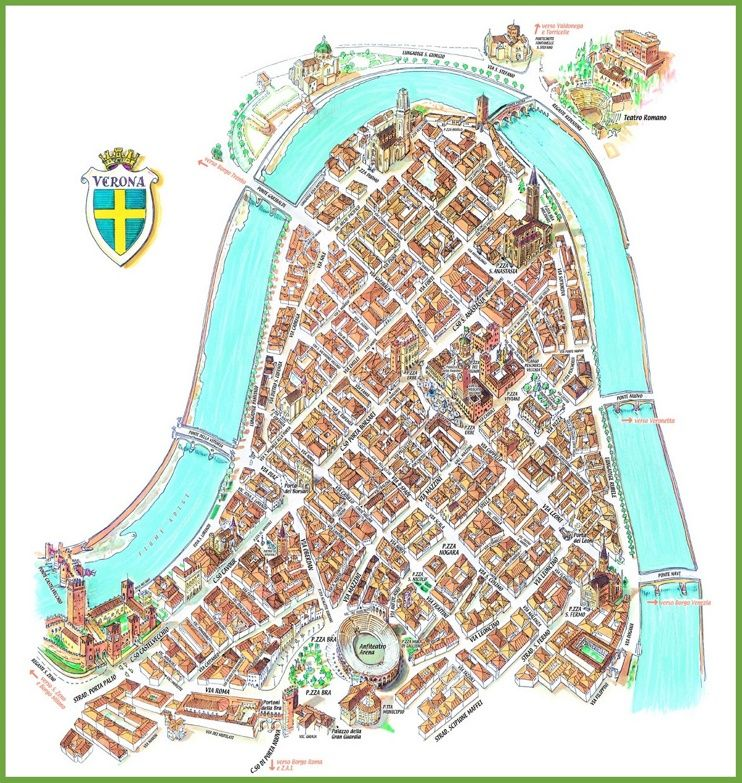 Tourist map of Verona city centre Maps Pinterest Tourist map