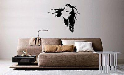 Wall Mural Vinyl Decal Sticker Beautiful Fashion Hair Salon Spa Girl Face  AL775