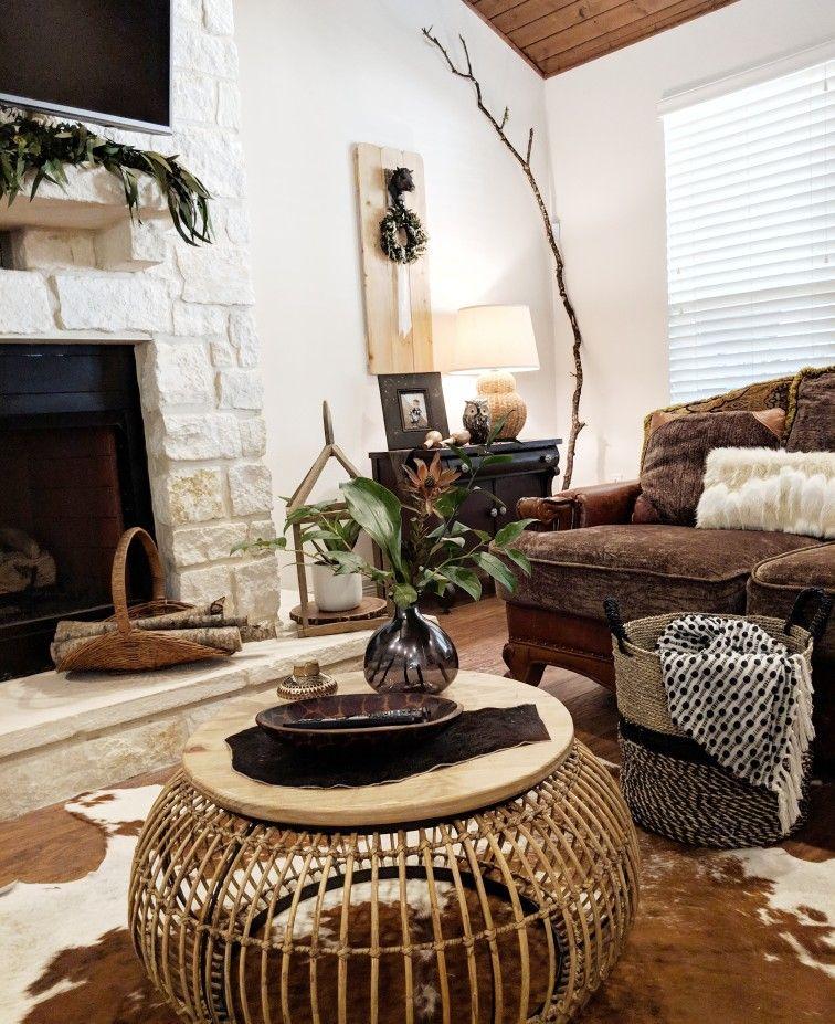 Boho farmhouse neutral living room decor decorating with