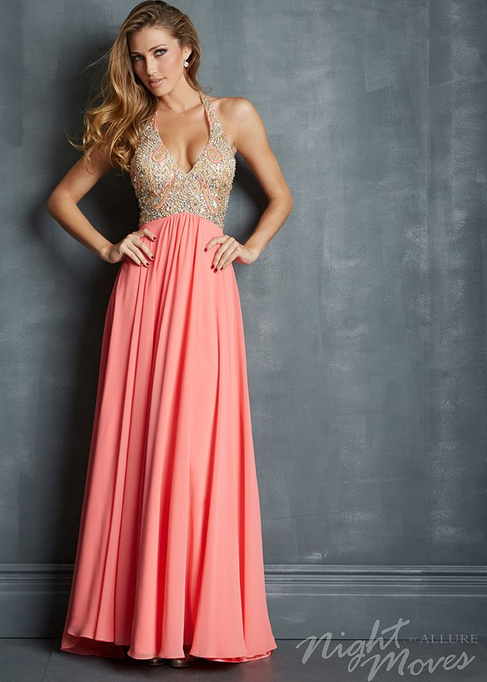 Night Moves 7082 - Coral Beaded Chiffon Halter Dresses - RissyRoos ...