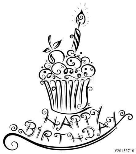 muffin geburtstag happy birthday vector schwarz stockfotos und lizen schriftzug alles gute zum tafel kreative geburtstagskarten glas vektor palme