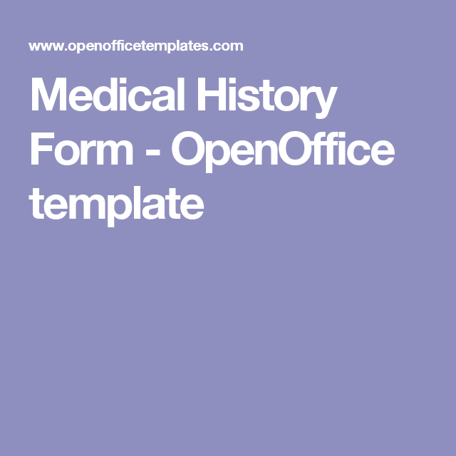Medical History Form  Openoffice Template  Medical Forms