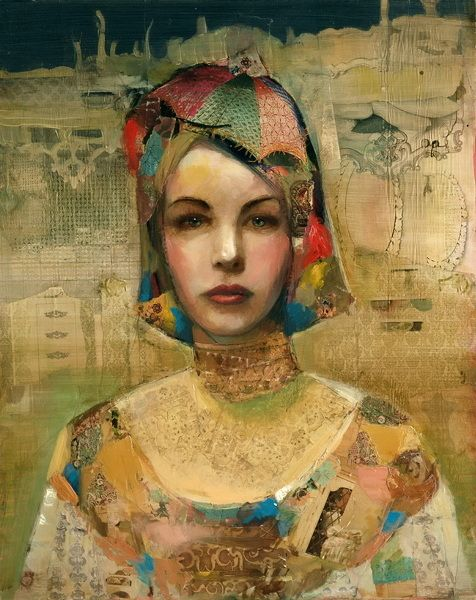 Modernique, Joshua Burbank, Mixed media, painting and collage for great effect #collageboard