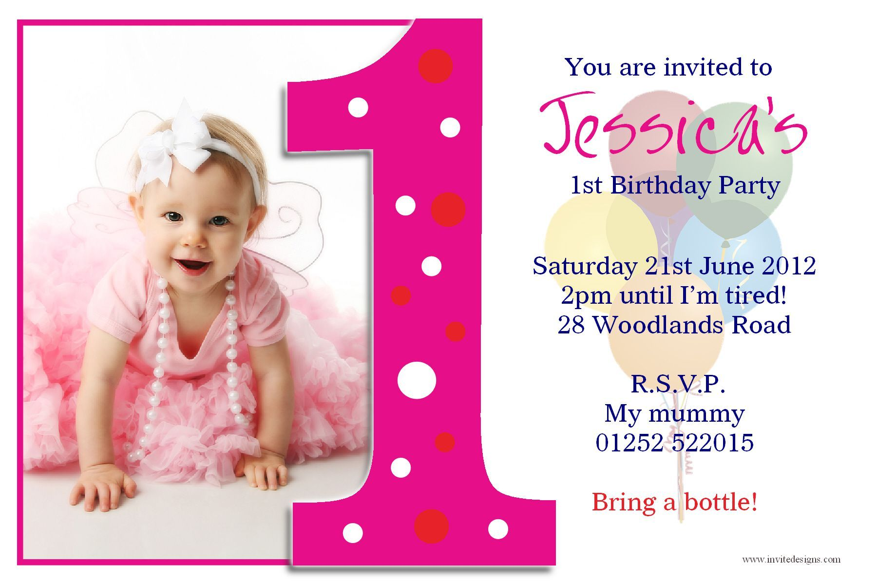 Birthday Invitation Template Free Birthday Invite Template Birthda Photo Birthday Invitations 1st Birthday Invitations Girl First Birthday Invitation Cards