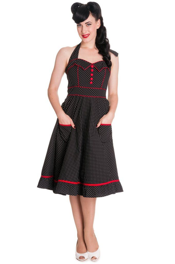 9585190c95b0 60's Rockabilly Love Polka Dot and Red Piping Swing Dress - Vanity Dress