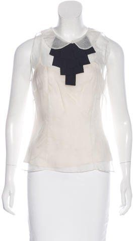 Milly Bow-Accented Silk Top