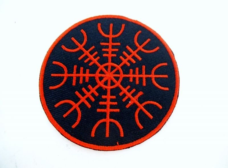 Viking Helm of Awe Iron On Patch Symbol Protection Rune Wiccan Pagan Norse