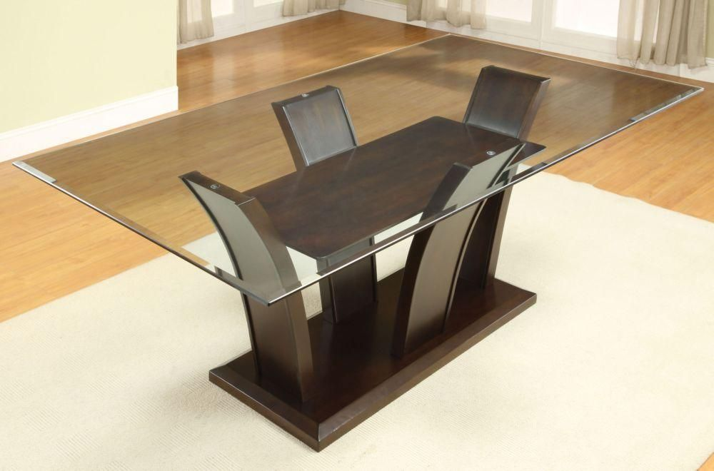Furniture Of America Manhattan Dark Cherry Glass Top Dining Table