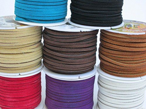 Lace Lacing Leather Suede Assortment Craft Kit; 8 Yards 1 Yard of each color shown