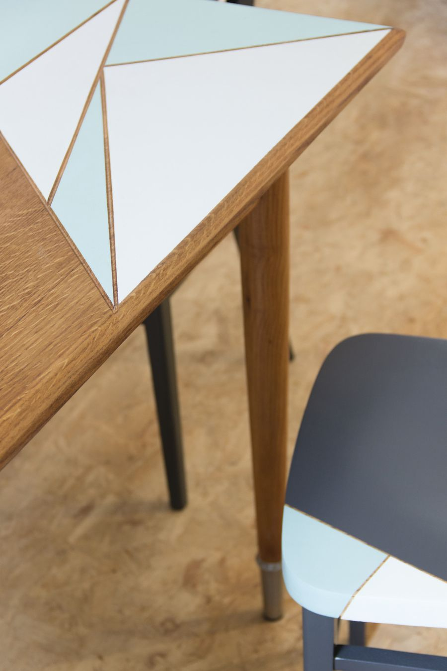 Upcycled oak wood table by geraldine calbert chair by for Table design belgique