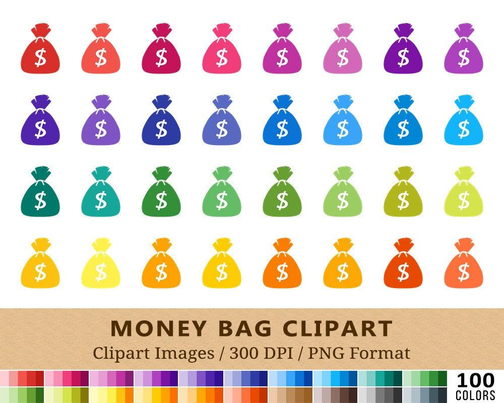 100 Money Bag Clipart Coin Pouch Clip Art Dollar Cash Pay Day