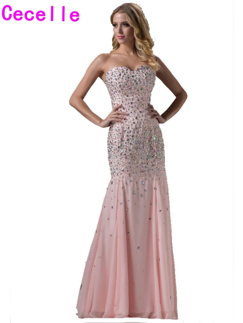 Click to buy ucuc hot new sparkle mermaid long pink prom dresses