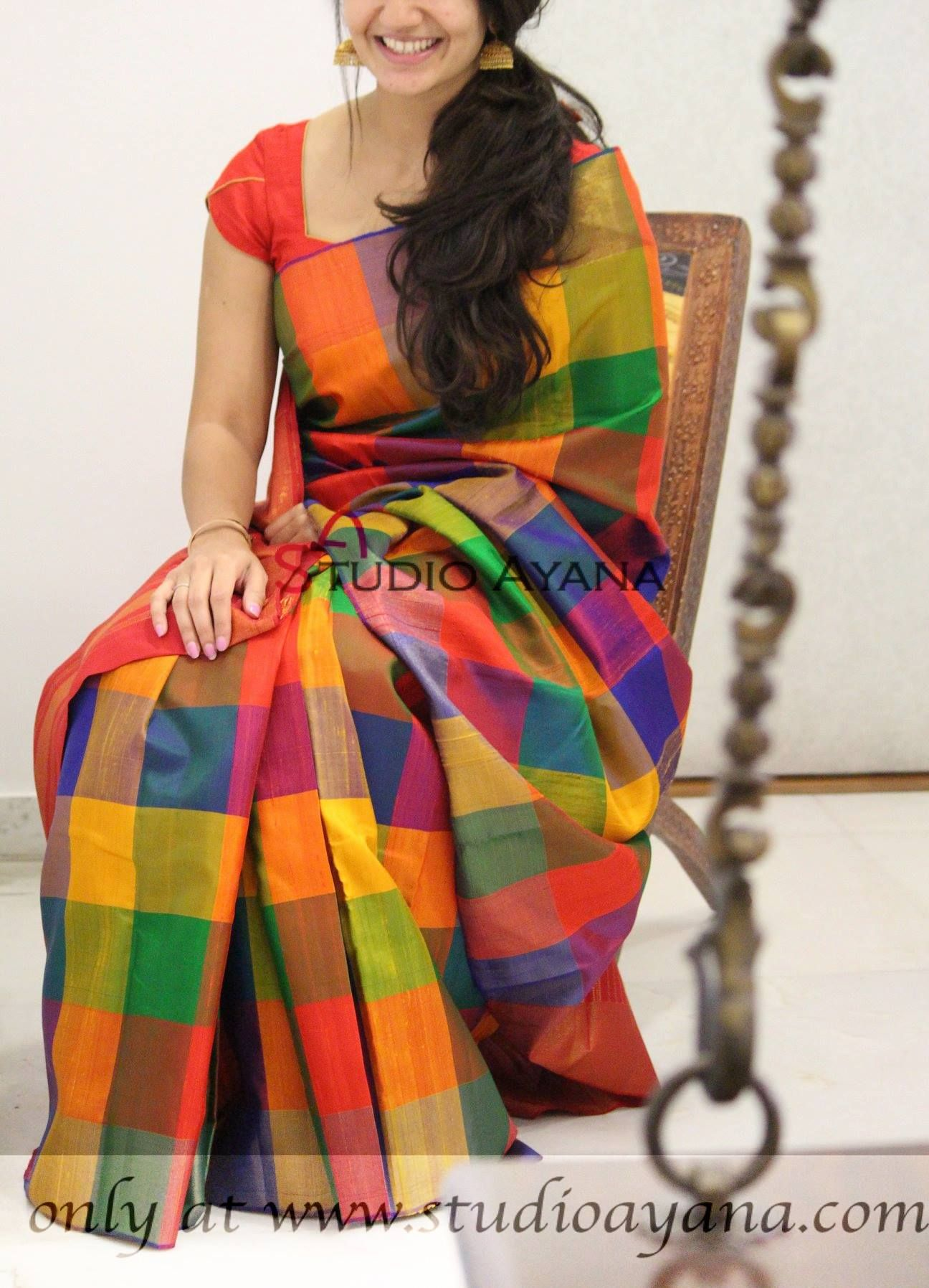 Red Pure Handloom Multicolor Kanchi Organza saree and blouse for women,wedding saree,indian saree,saree dress,saree for women,sari,saris