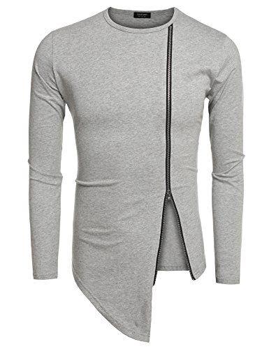 95ec6a3a8 Coofandy Men s Shirts Casual Zipper Shirt Irregular Long Sleeve T Shirt - Online  Shopping Discounts
