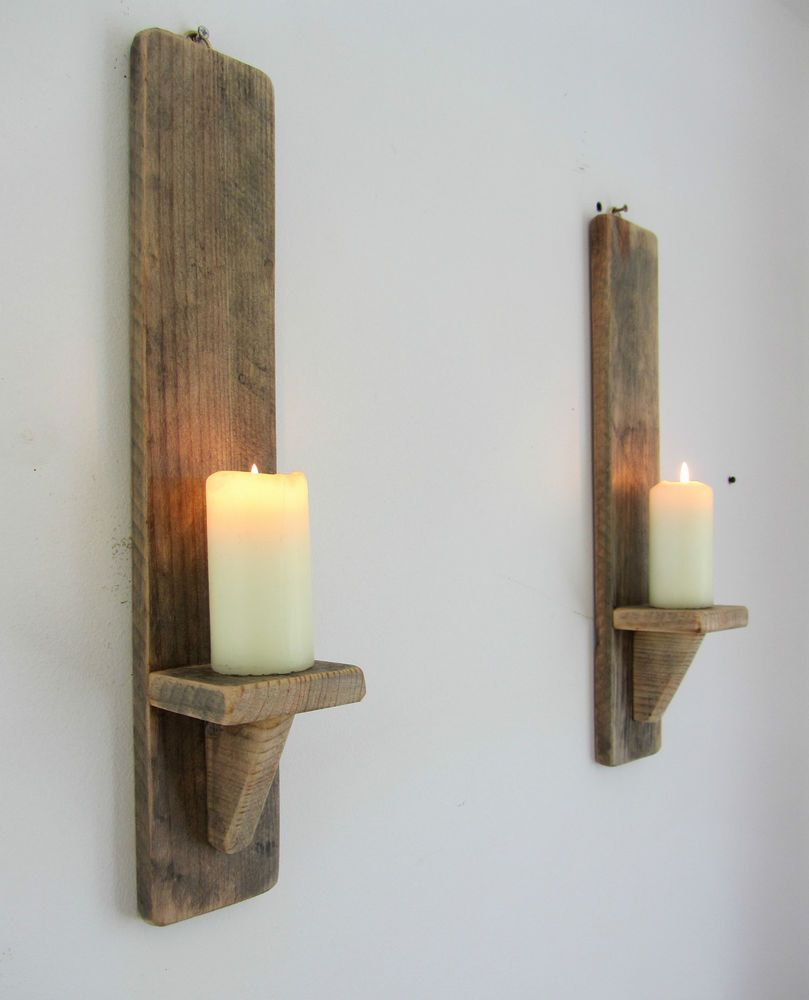 Pair of cm reclaimed pallet wood shabby chic wall sconce candle