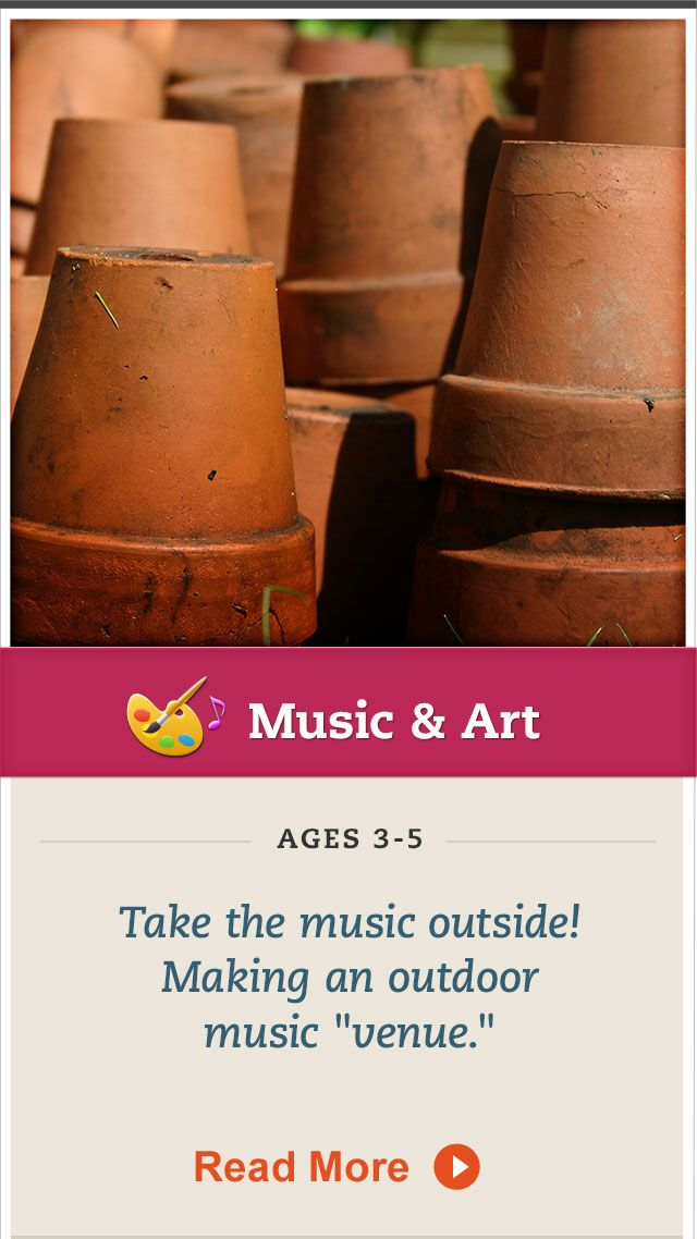 Create an outdoor #music space for your child to explore. Click for details. #MusicandArt
