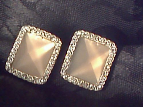 GIVENCHY Rhinestone Clip Earrings champagne stone silver for Easter /  Wedding - http://designerjewelrygalleria.com/givenchy/givenchy-rhinestone-clip-earrings-champagne-stone-silver-for-easter-wedding/