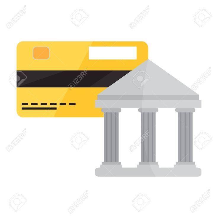 Bankgebaude Mit Einem Kreditkartensymbol Vektor Illustration