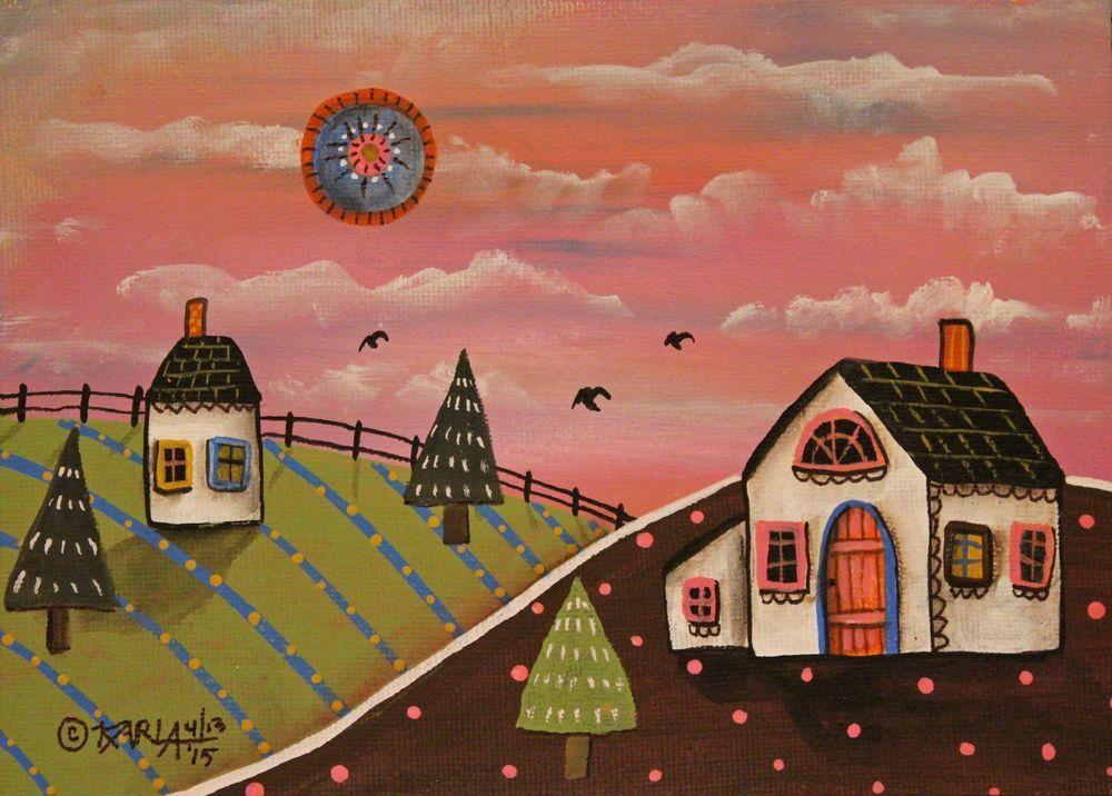 Sweet Country 5x7inch ORIGINAL Canvas Panel PAINTING Houses FOLK ART Karla G #FolkArtAbstractPrimitiveLandscape