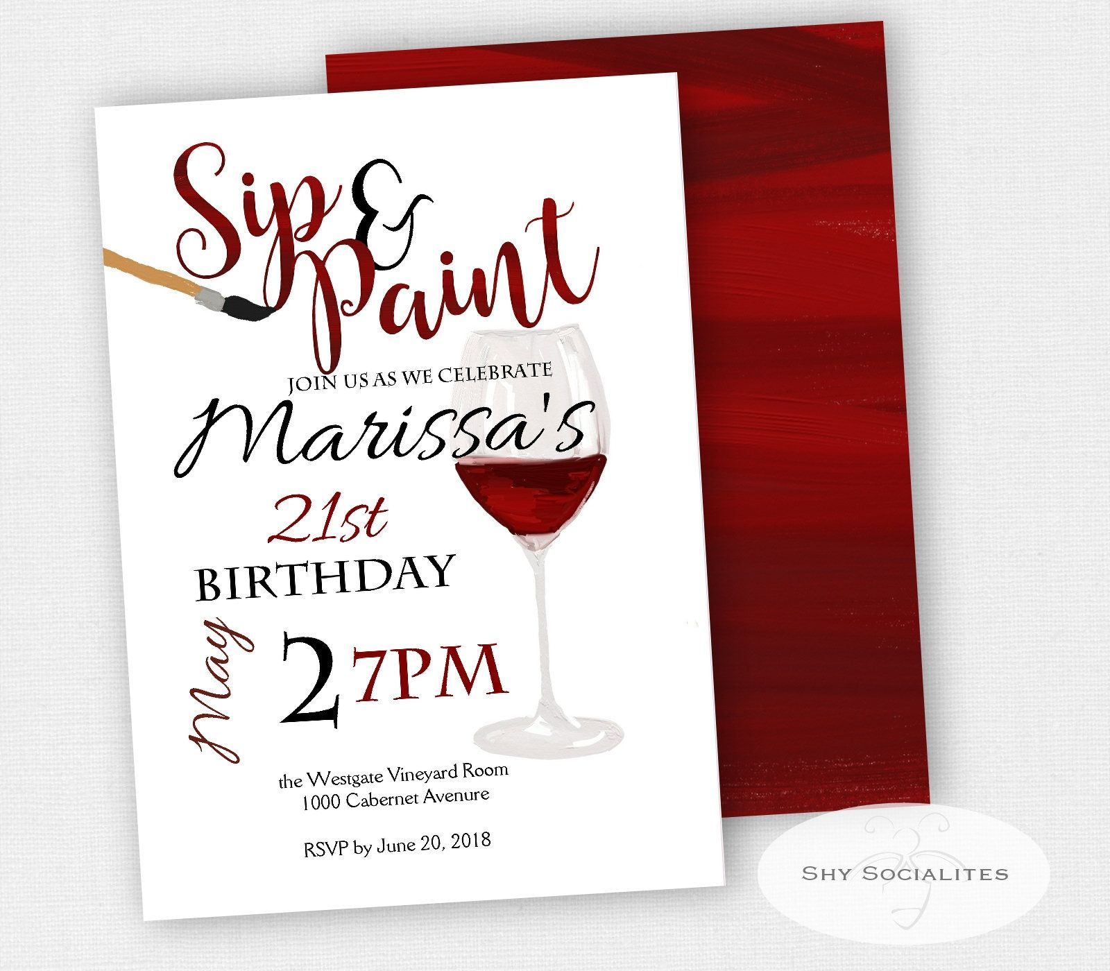 Sip And Paint Wine Invitation Bridal Shower Cocktail Party Holiday Party Wine Tasting Oil Painting Instant Download Editable Pdf In 2020 Wine Invitations Paint Party Invitations Painted Invitations