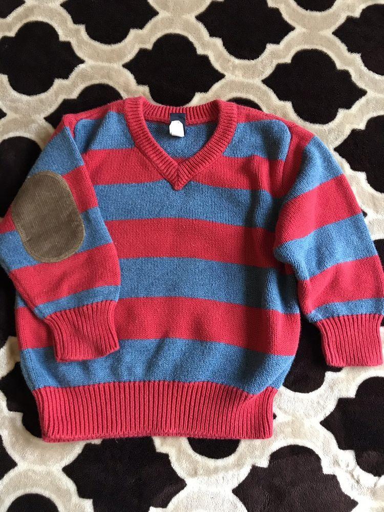 9c90bab6cbe9 BABY GAP Boys V Neck Sweater Size 18-24 Months Striped Elbow Patch ...