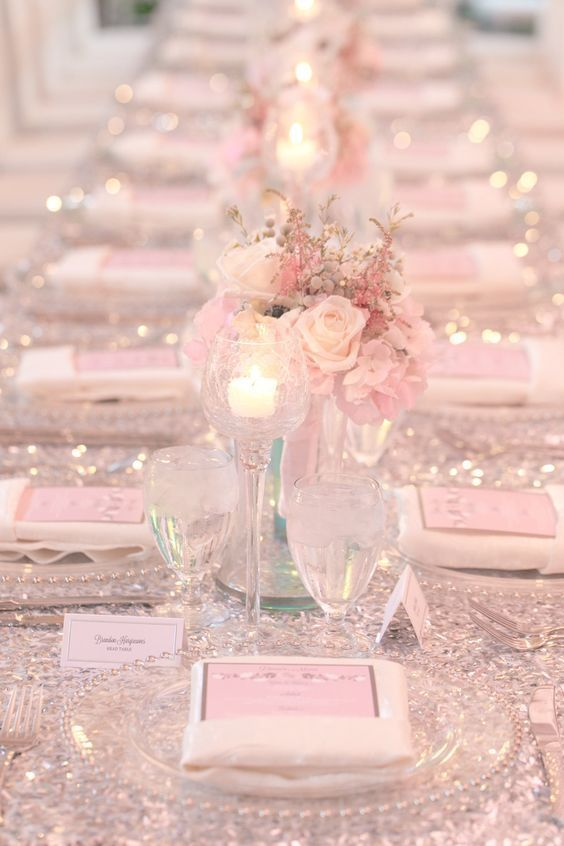 Featured Photographer Amalie Orrange Photography Glamorous Sparkly Light Pink Wedding Reception With Perfect Rose Centerpieces