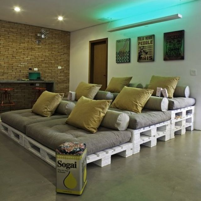 Turn The Garage Into A Movie Room With Stadium Plank Seating