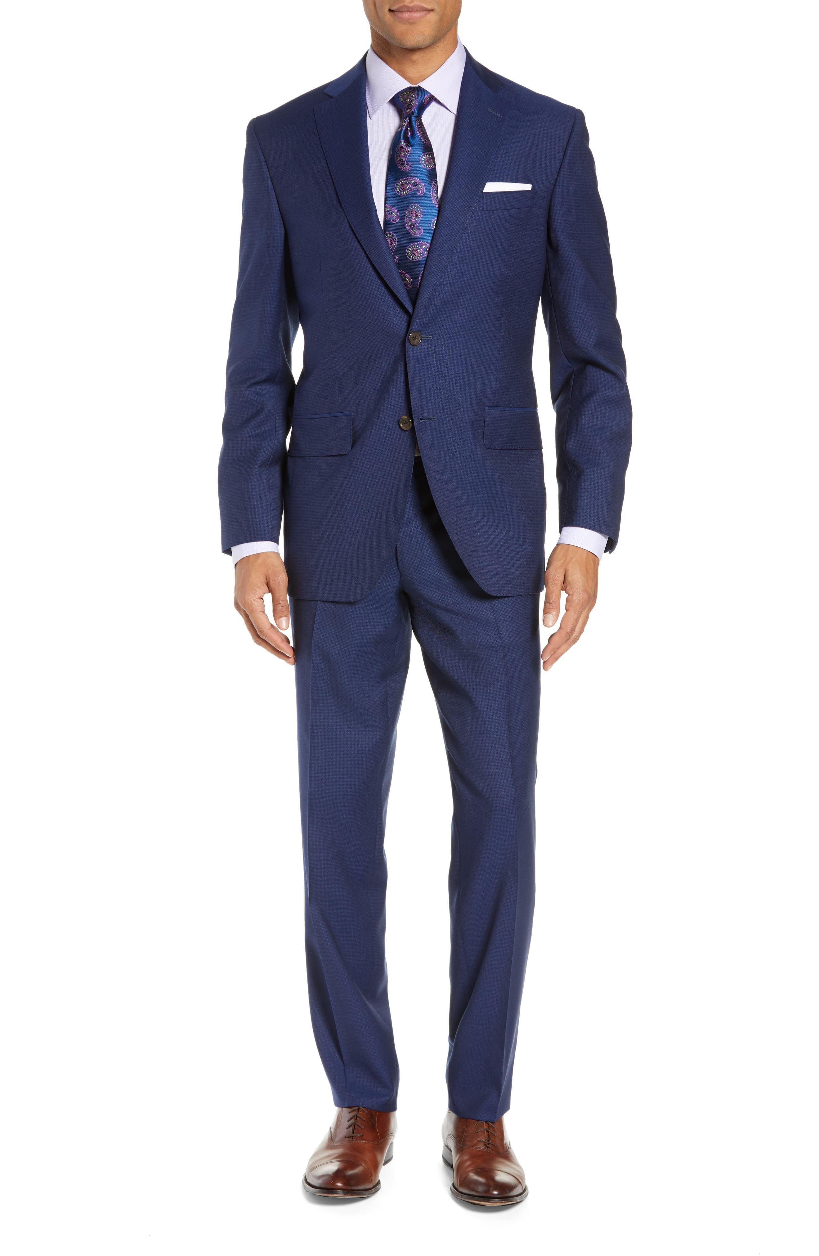David Donahue Ryan Classic Fit Check Wool Suit Mens