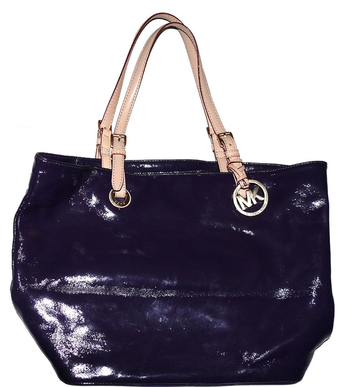 7952d4f50986 Michael Kors Tote Patent Leather Jet Set B-0905 Purple Plum Eggplant Dust  Bag